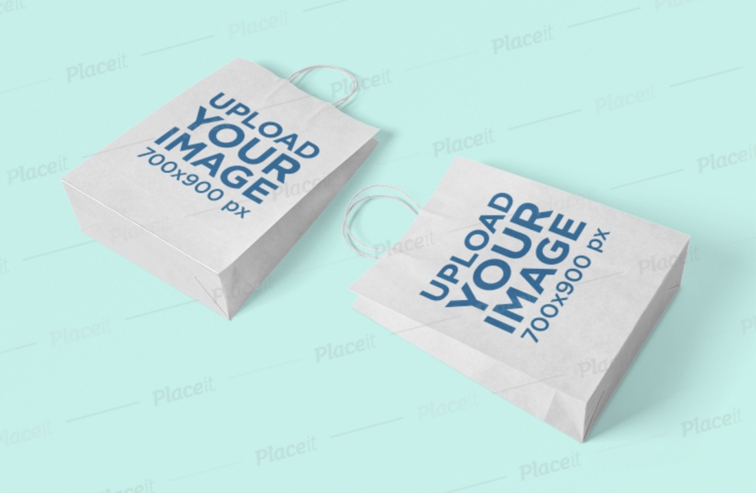 mockup of two paper bags lying on a plain surface