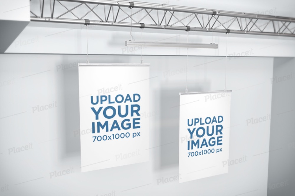 mockup of two posters hanging from a ceiling frame