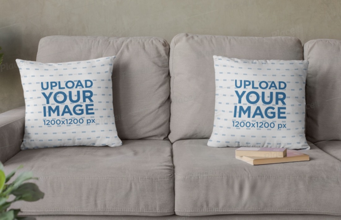 mockup of two squared pillows