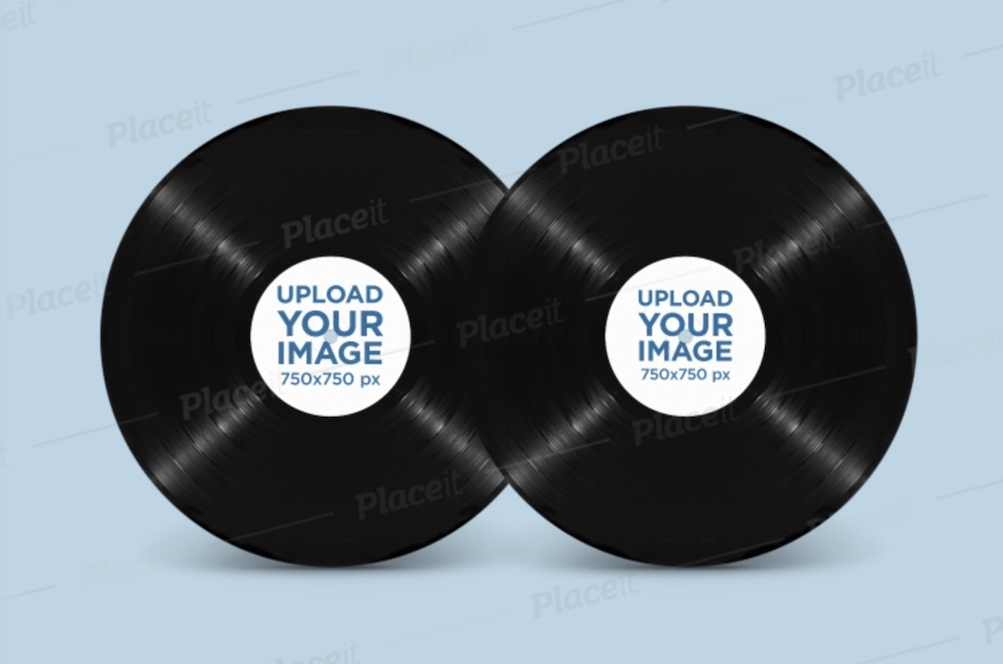 mockup of two vinyl records