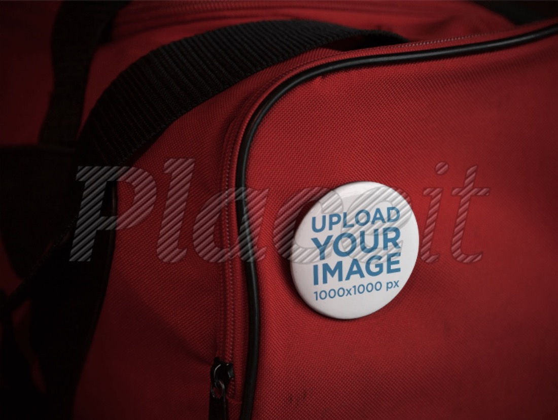 mockup with a button on a red gym bag
