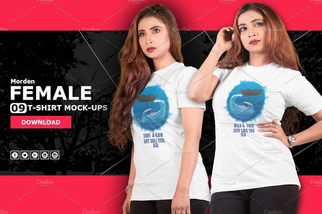 modern female t-shirt mockup