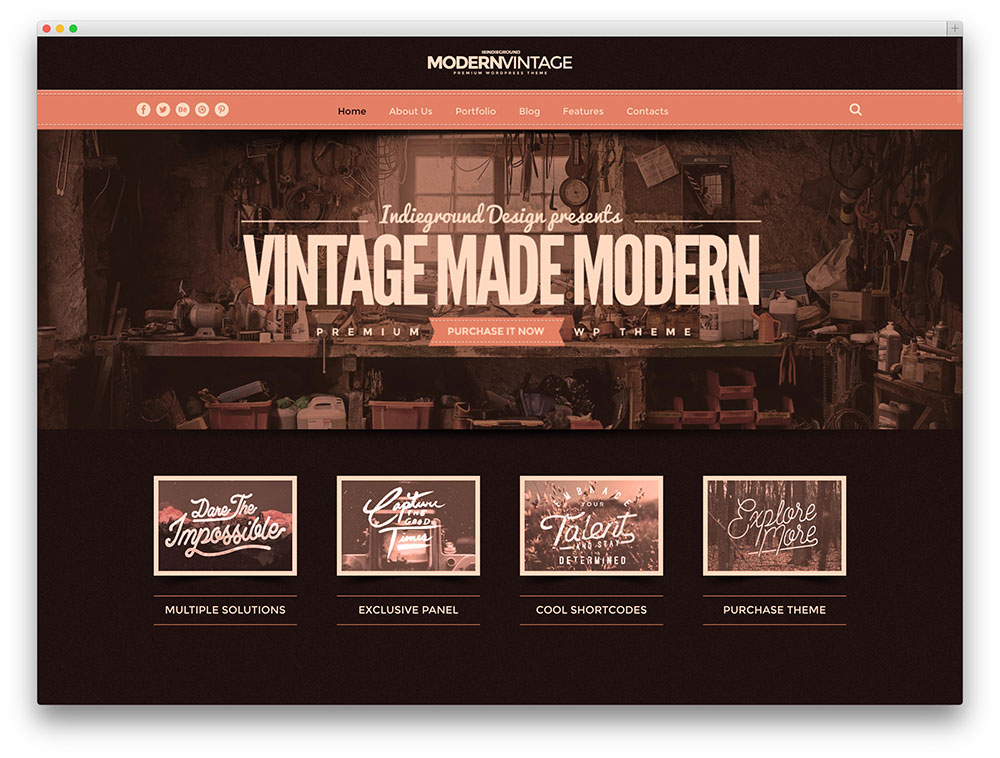 20 best vintage retro style wordpress themes for for Decoration websites