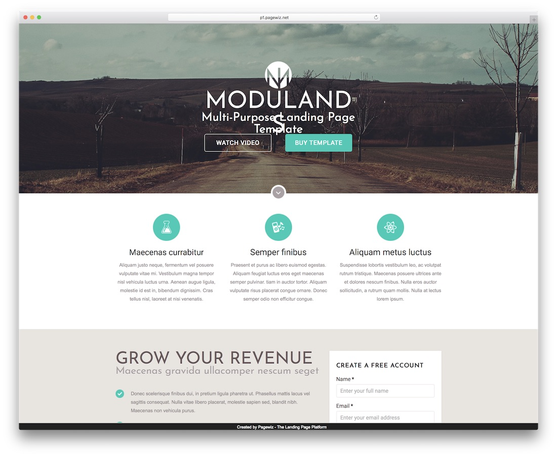 modulands pagewiz landing page template