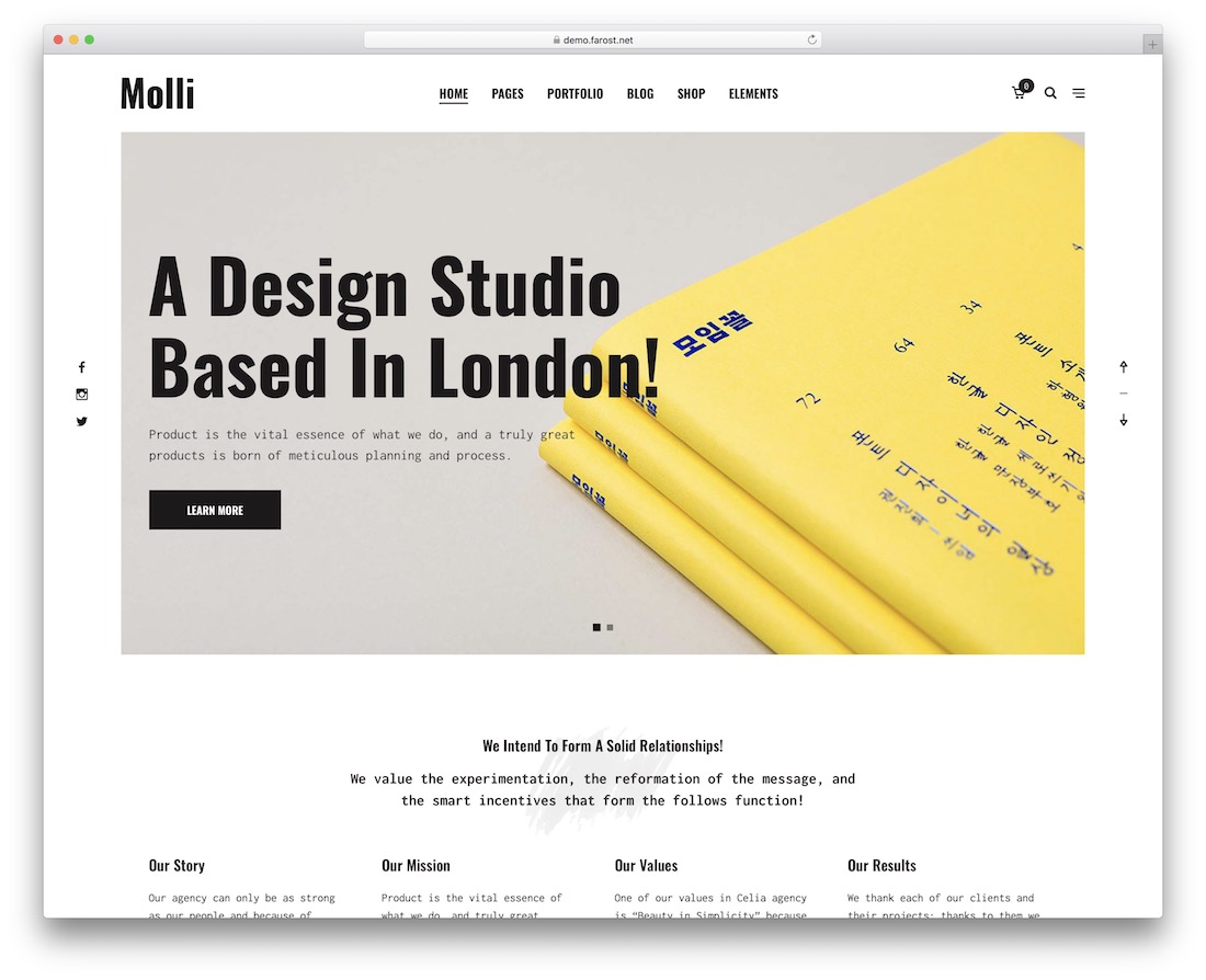 molli portfolio website template
