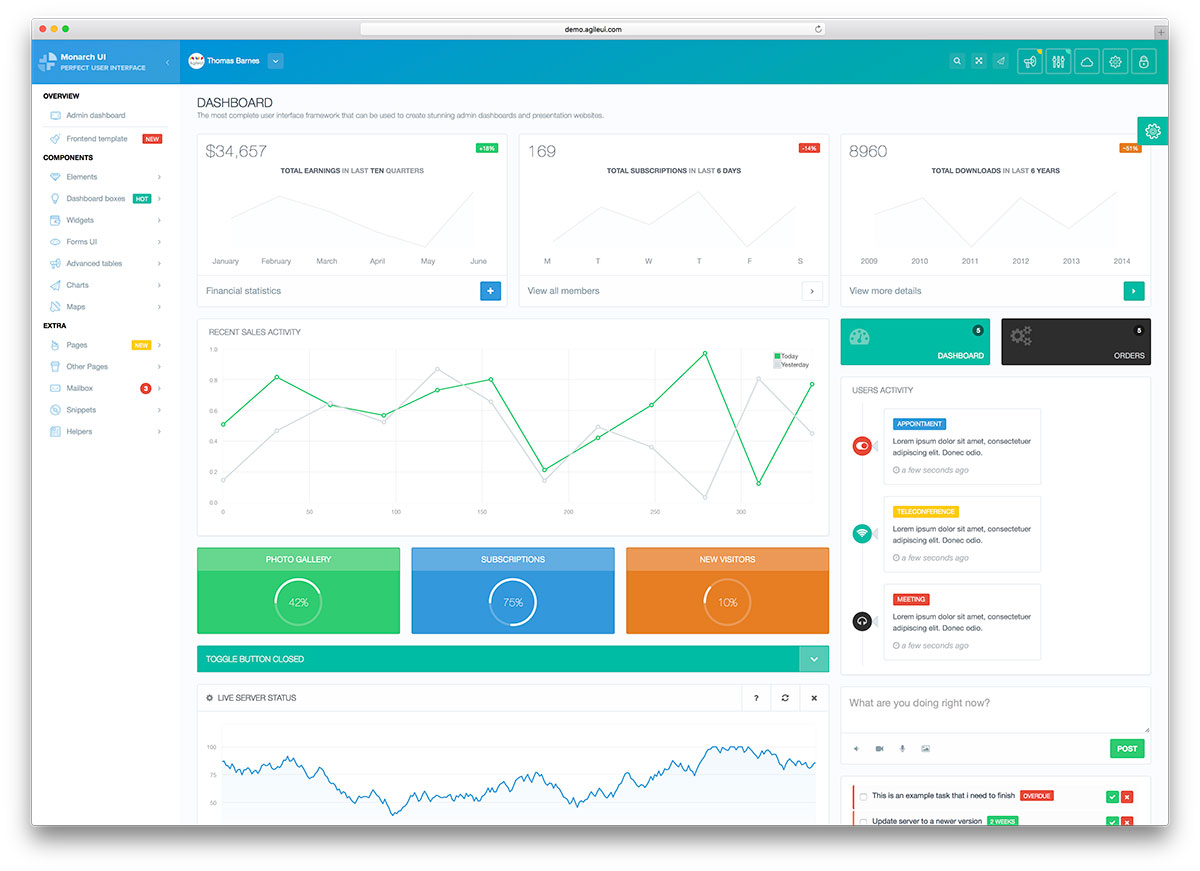 Top 32 free responsive html5 admin dashboard templates for Simple html admin template