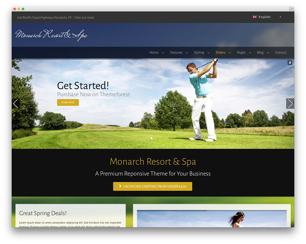 monarch resort and spa theme