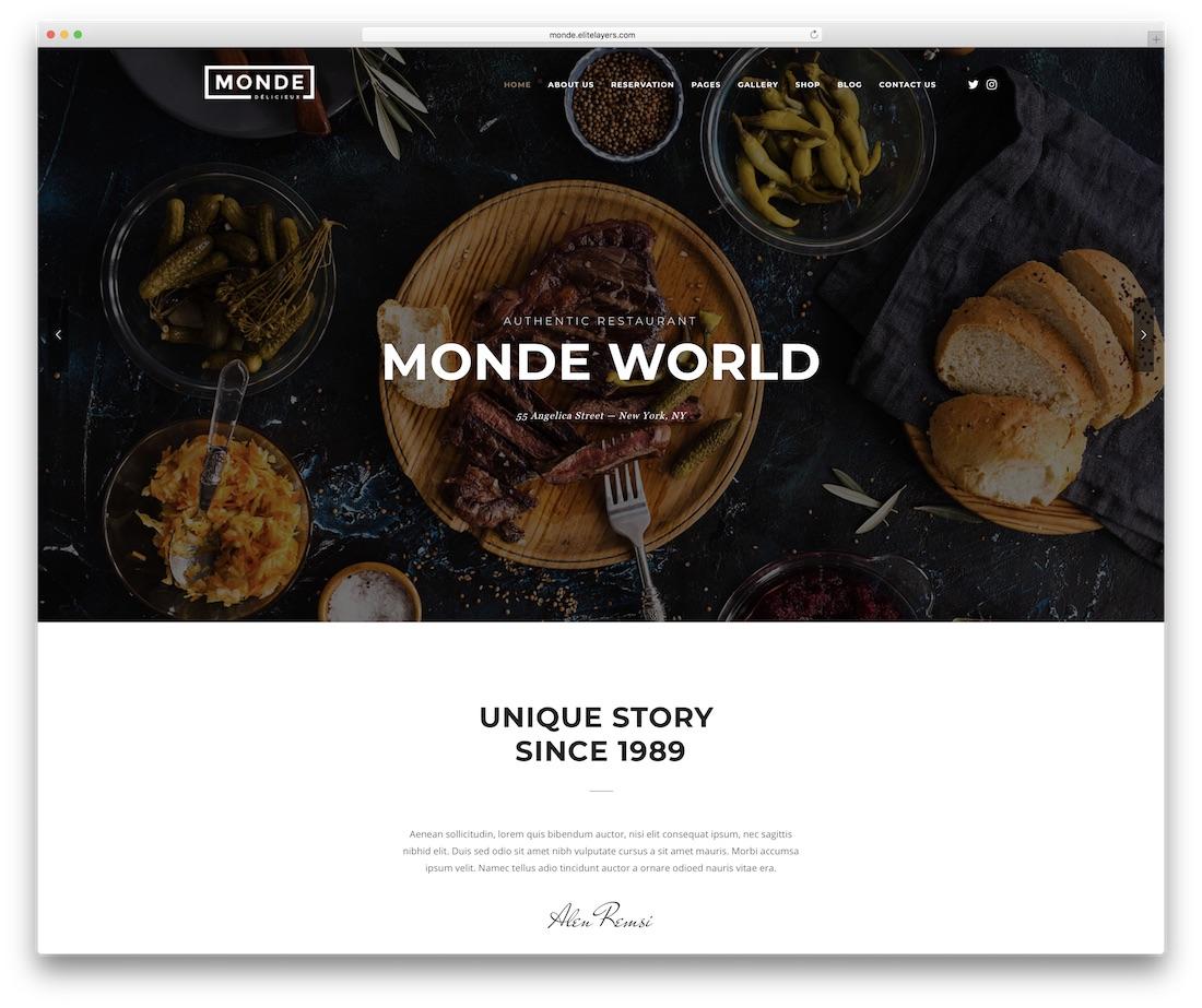 monde food website template