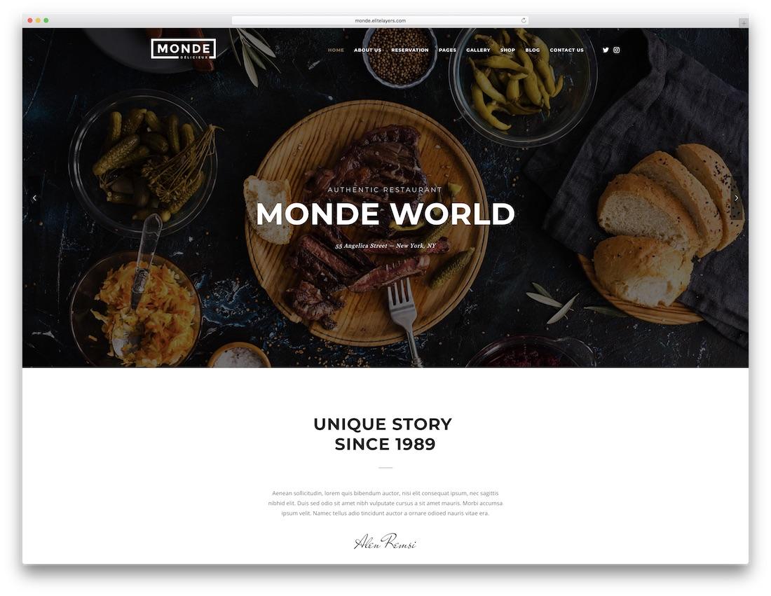 monde parallax website template