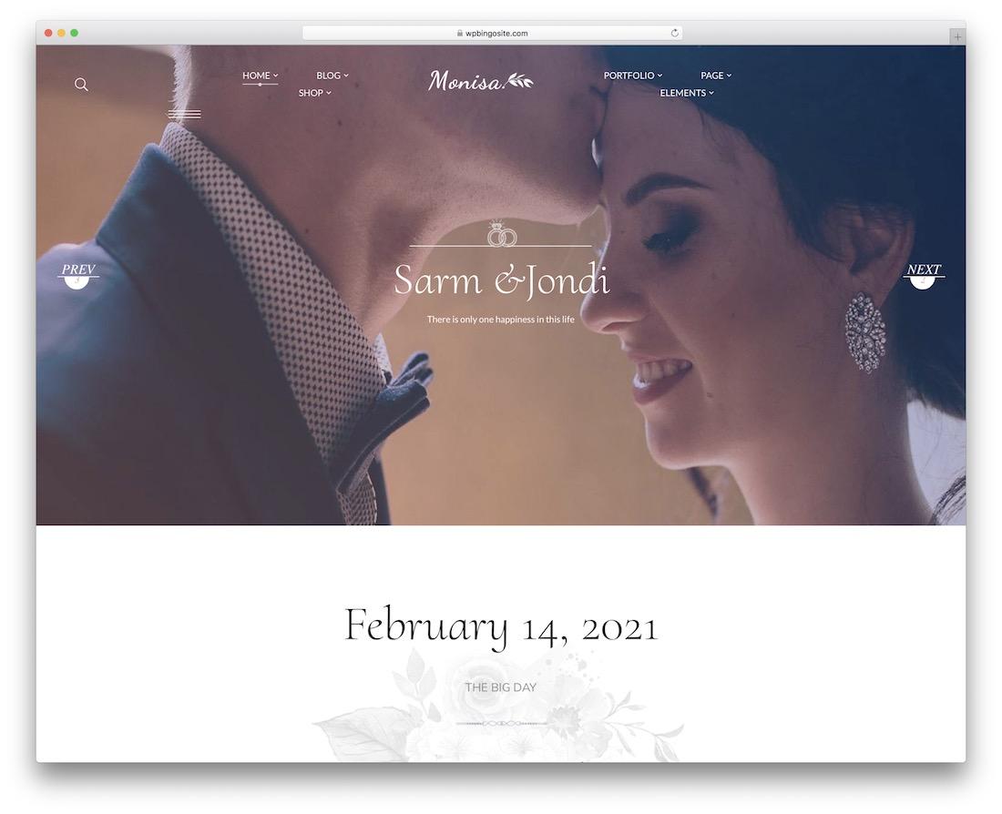 monisa wedding website template