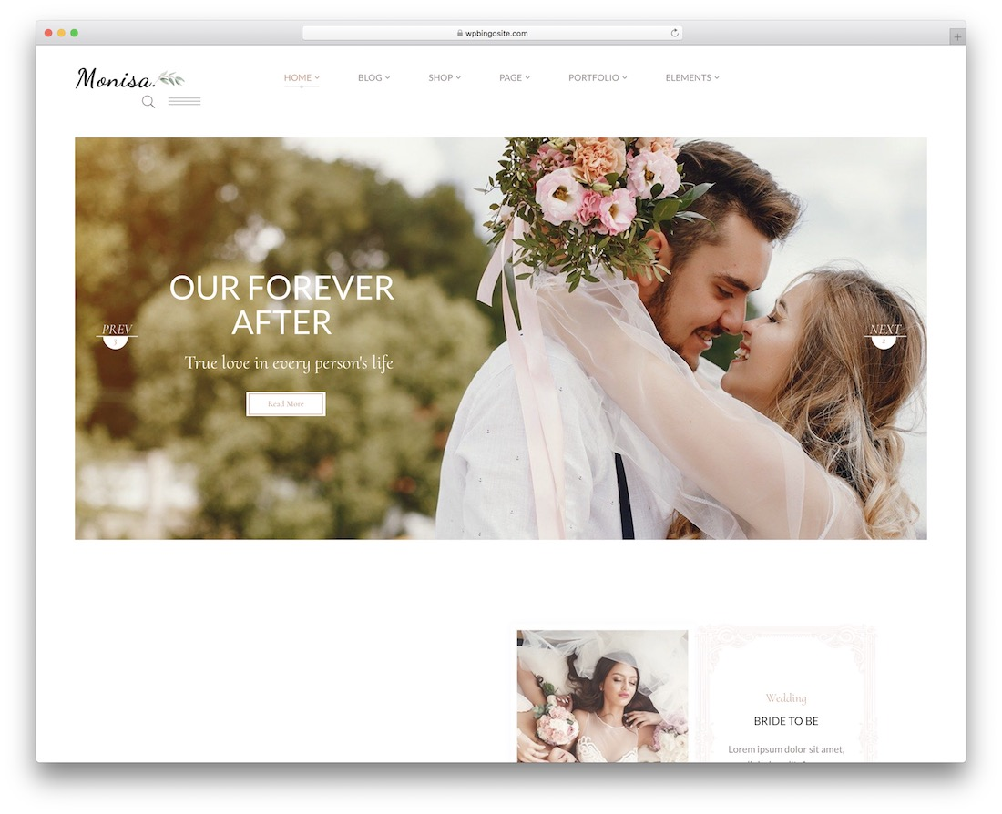monisa wordpress wedding theme