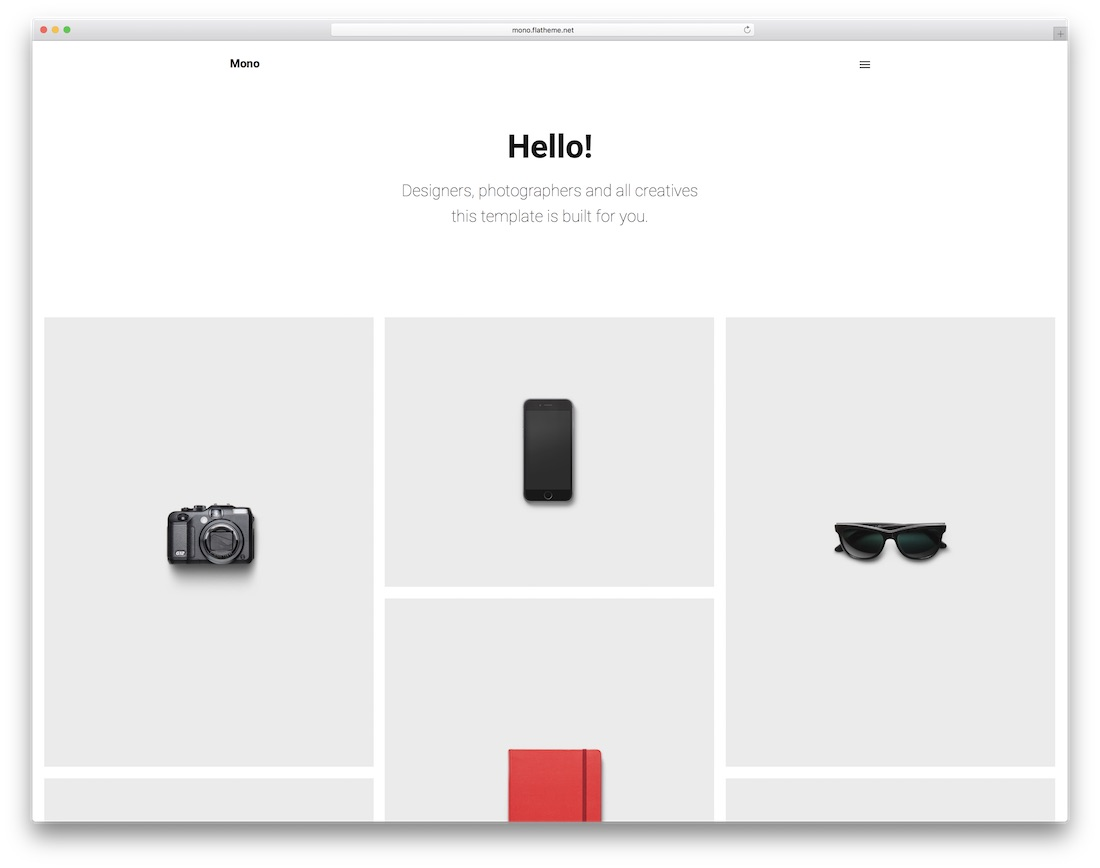 mono minimal portfolio website template