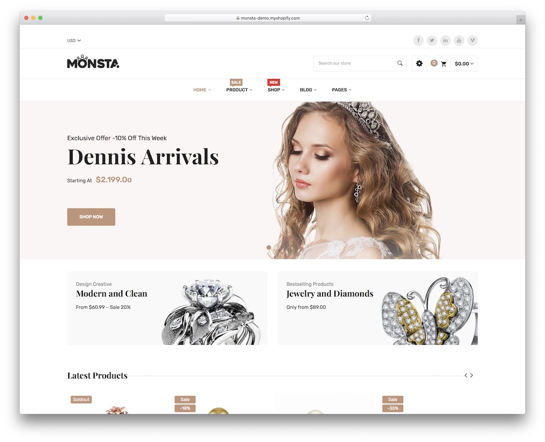 monsta shopify jewelry theme