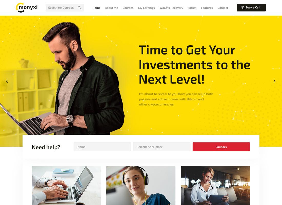 Monyxi   Cryptocurrency Trading Business Coach WordPress Theme
