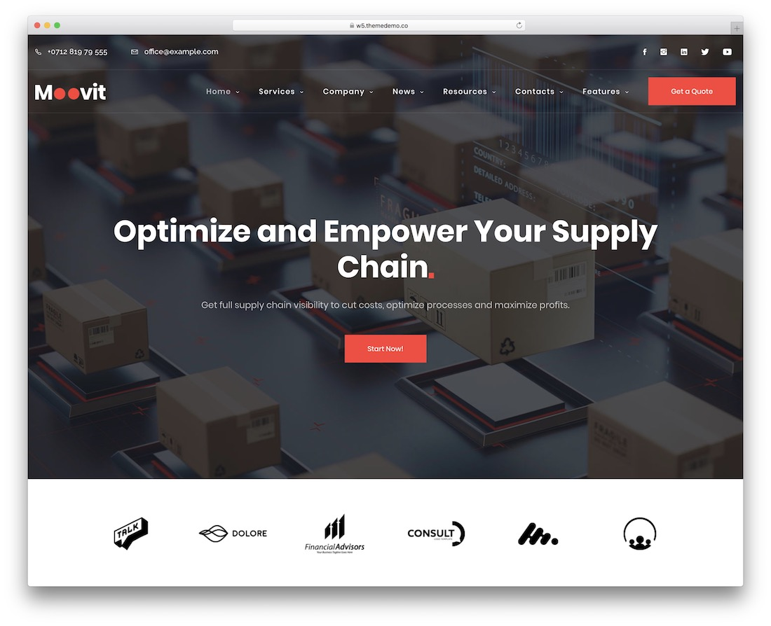 moovit cargo transportation logistics wordpress theme