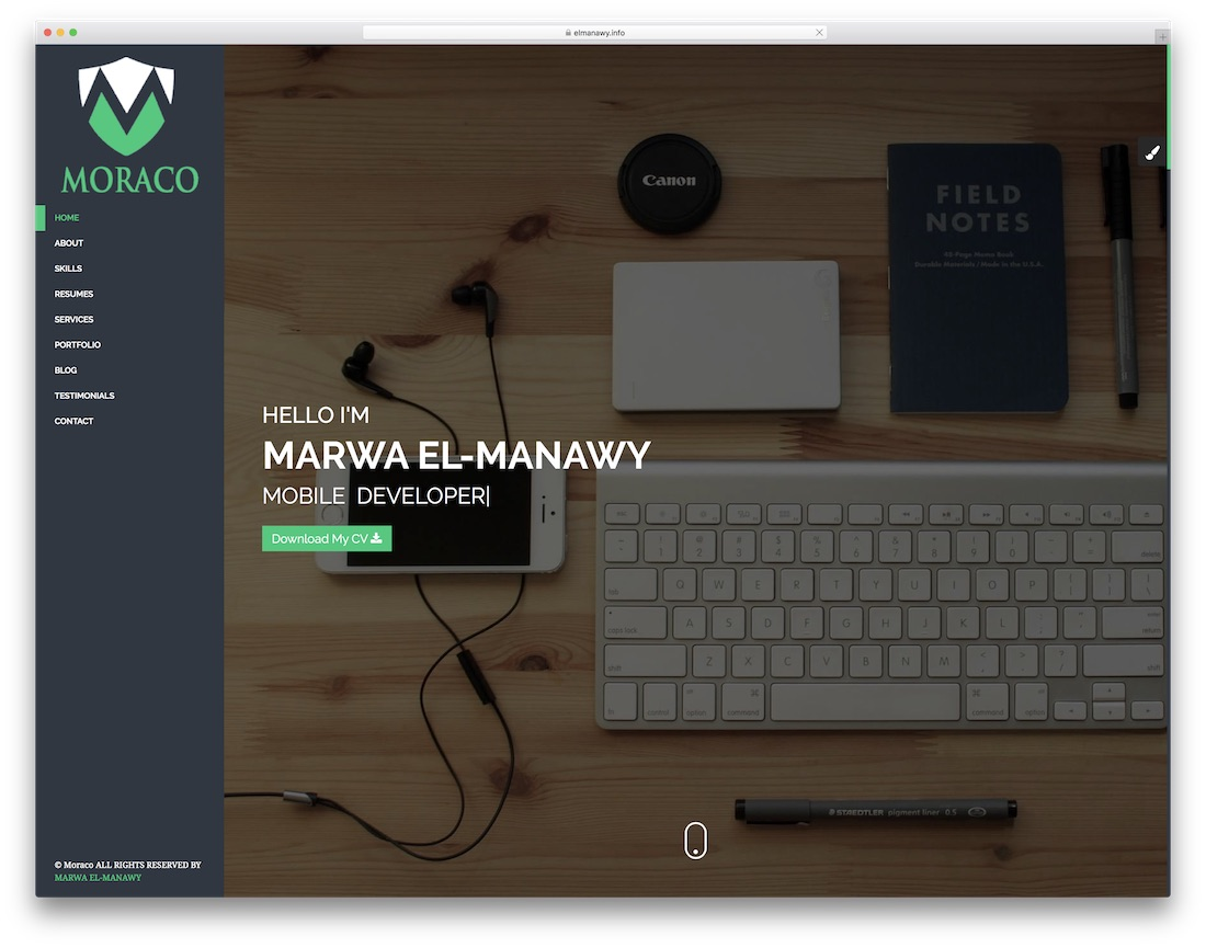 moraco HTML resume cv website template