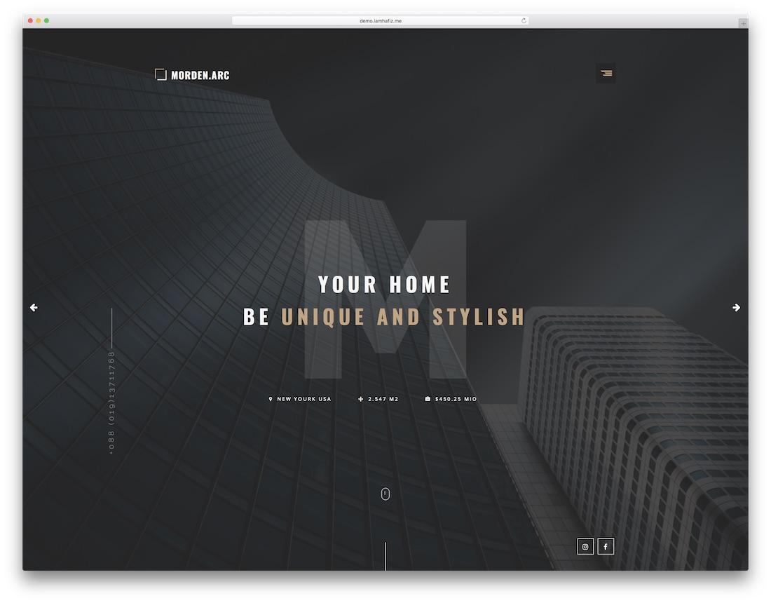 morden arch interior design website template