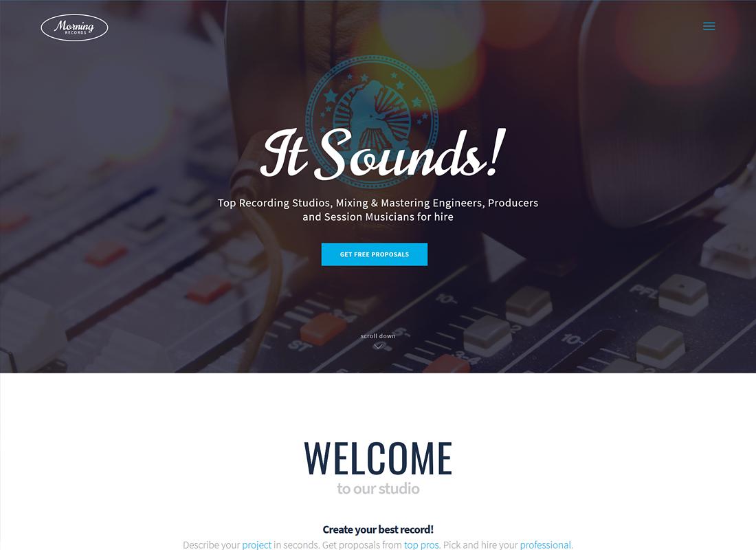 Morning Records   A Stylish Sound Recording Studio WordPress Theme