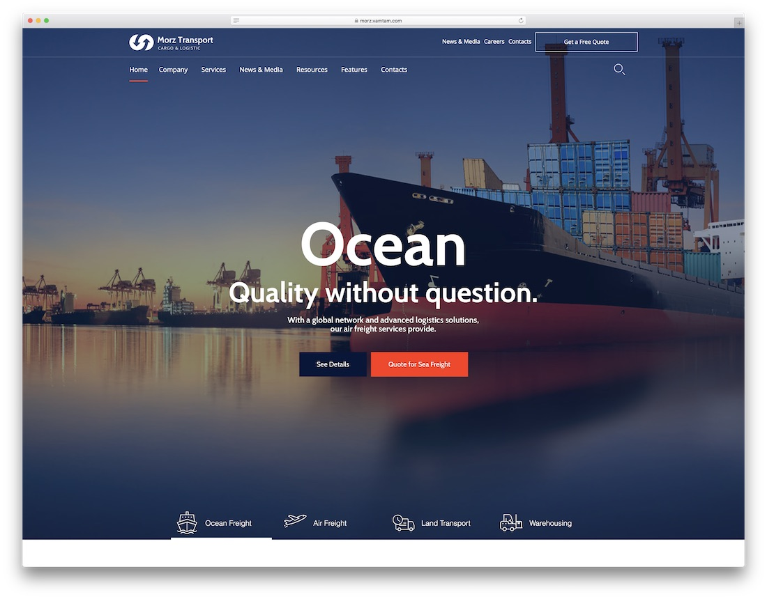 morz transportation logistics wordpress theme