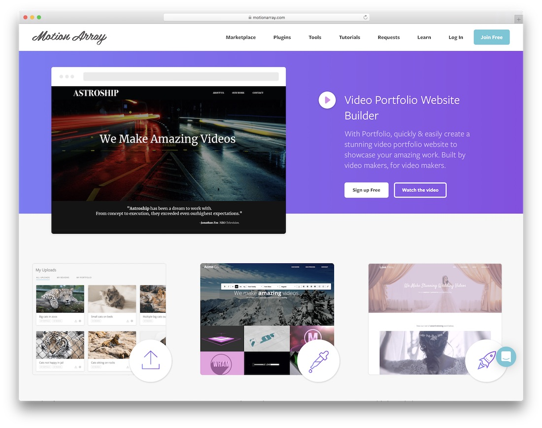 motion array website builder for photographers