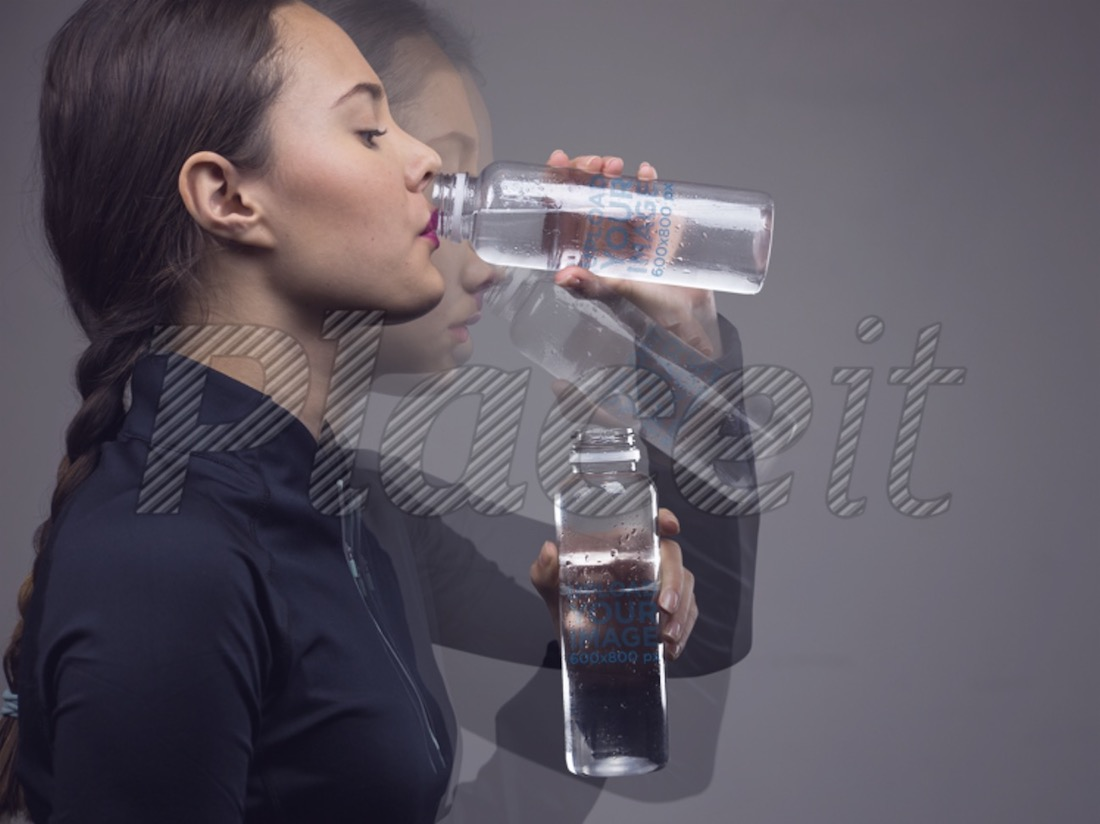 motion photo mockup of a young woman drinking water