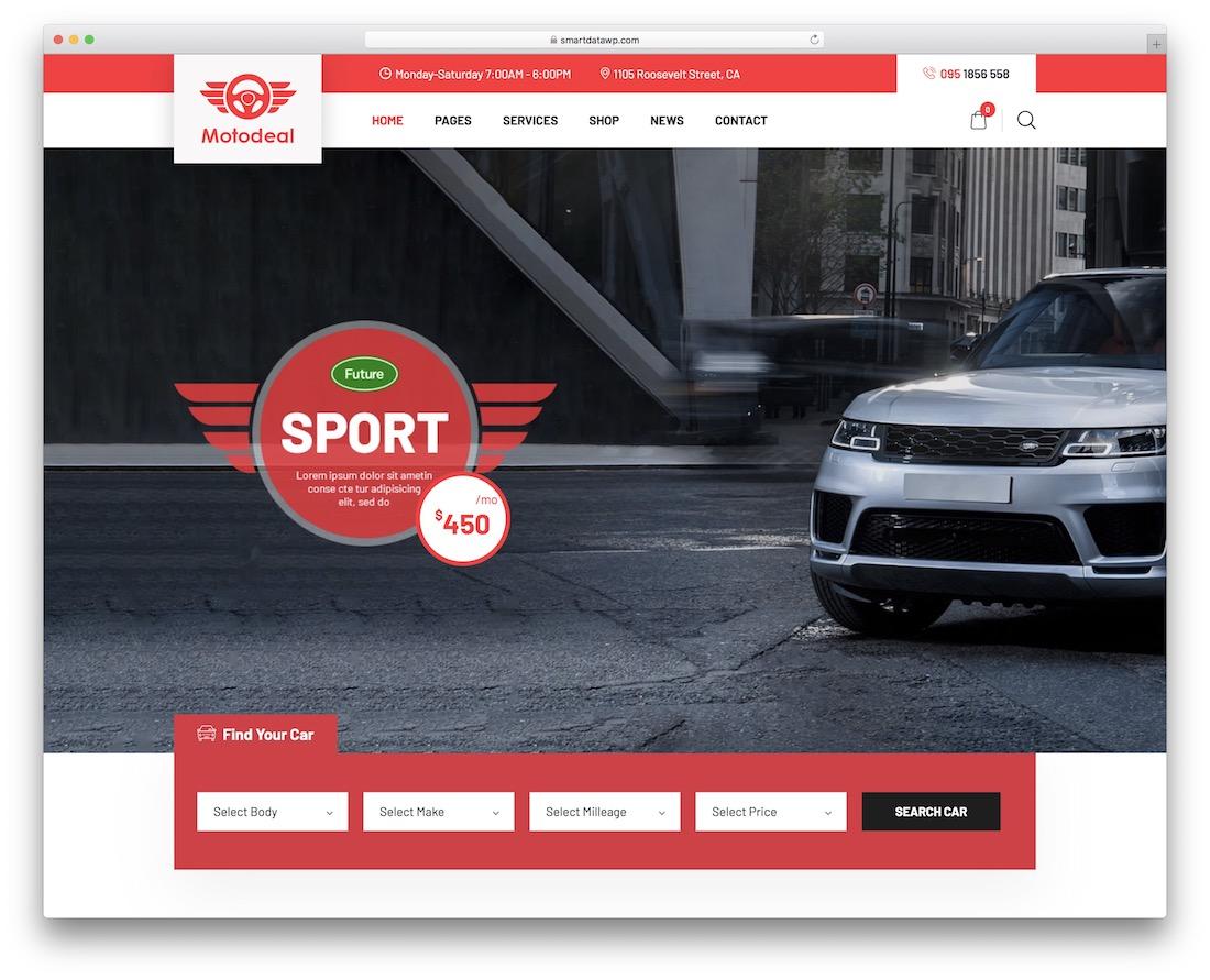 motodeal car dealer wordpress theme