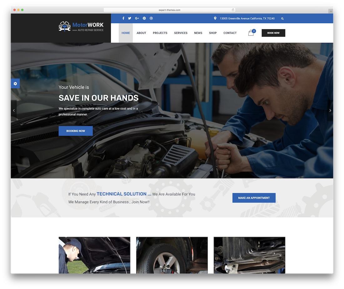 motor expert automotive website template