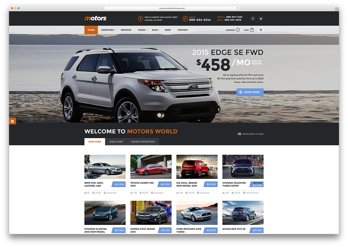 Motors new car dealer wordpress theme