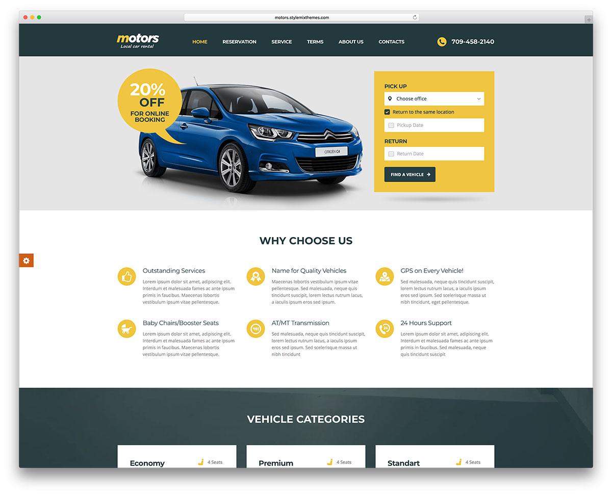 15 Mobile Friendly Car Rental WordPress Themes 2018 - Colorlib
