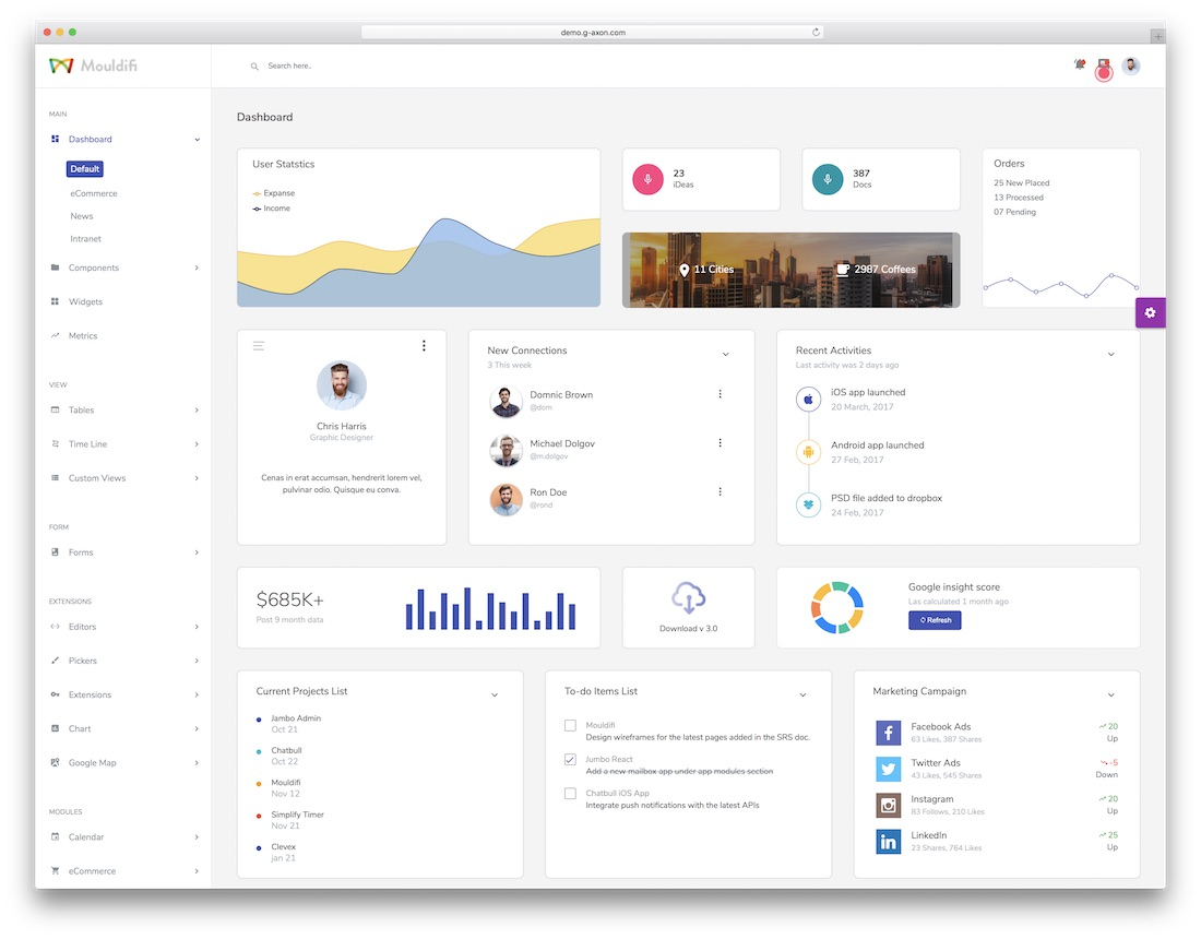 17 Best React Dashboard Templates For Killer Applications 2019