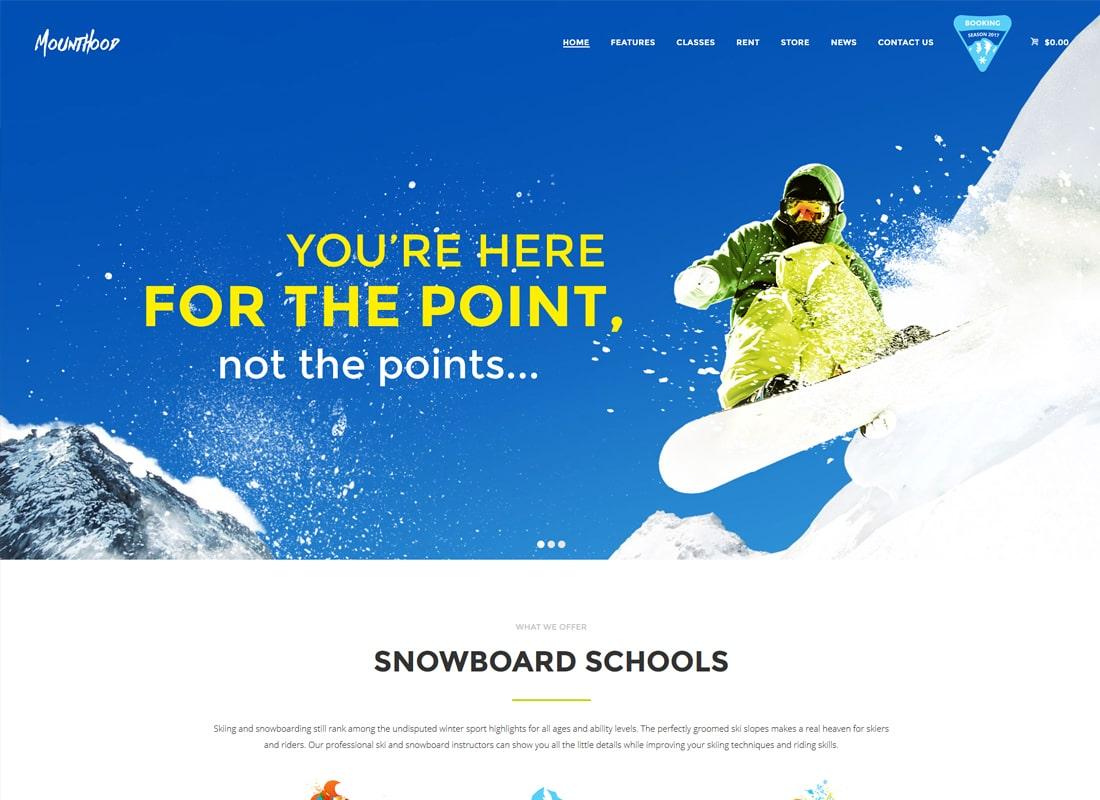 Mounthood | A Modern Ski and Snowboard School WordPress Theme