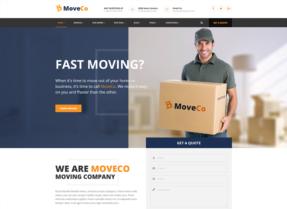 MoveCo | Logistics, Moving Company WordPress Theme
