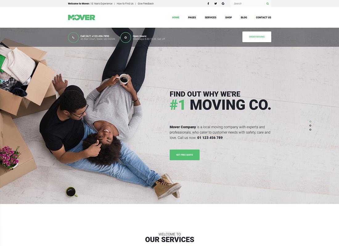 Mover | Moving Company & Storage Services WordPress Theme