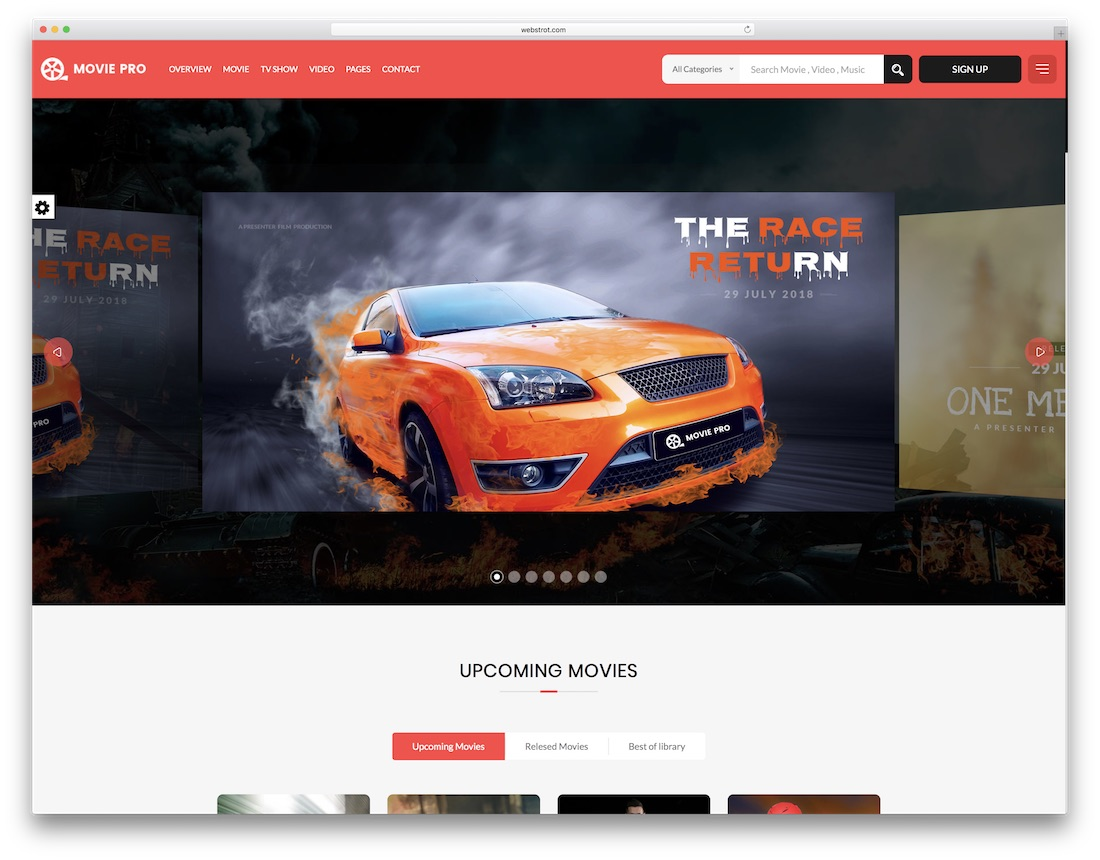 movie pro video website template