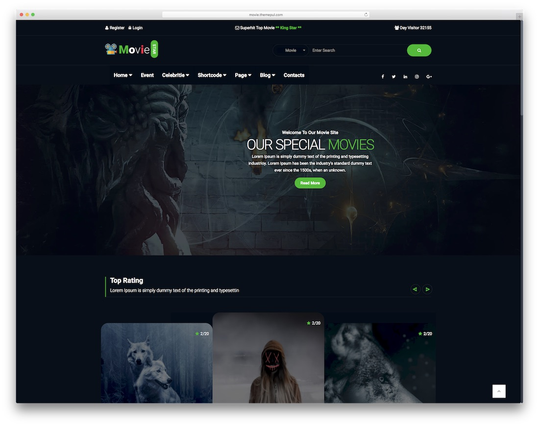 movie star bootstrap template