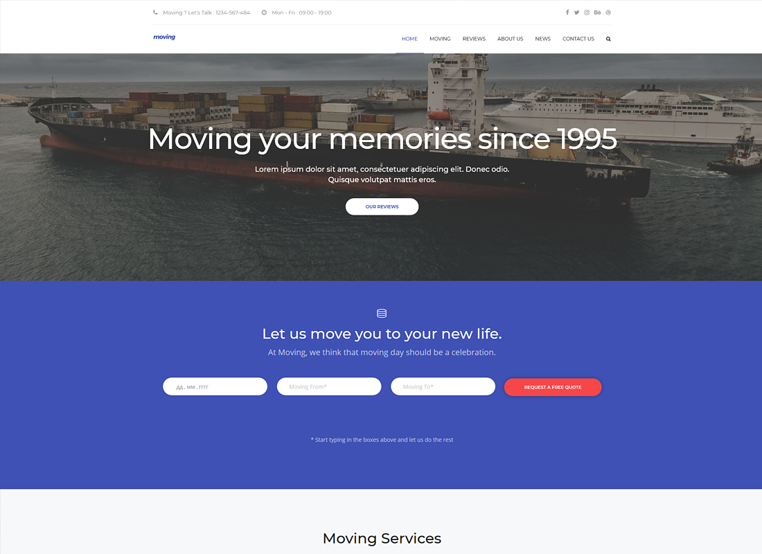 Moving | Removals and Moving WordPress Theme