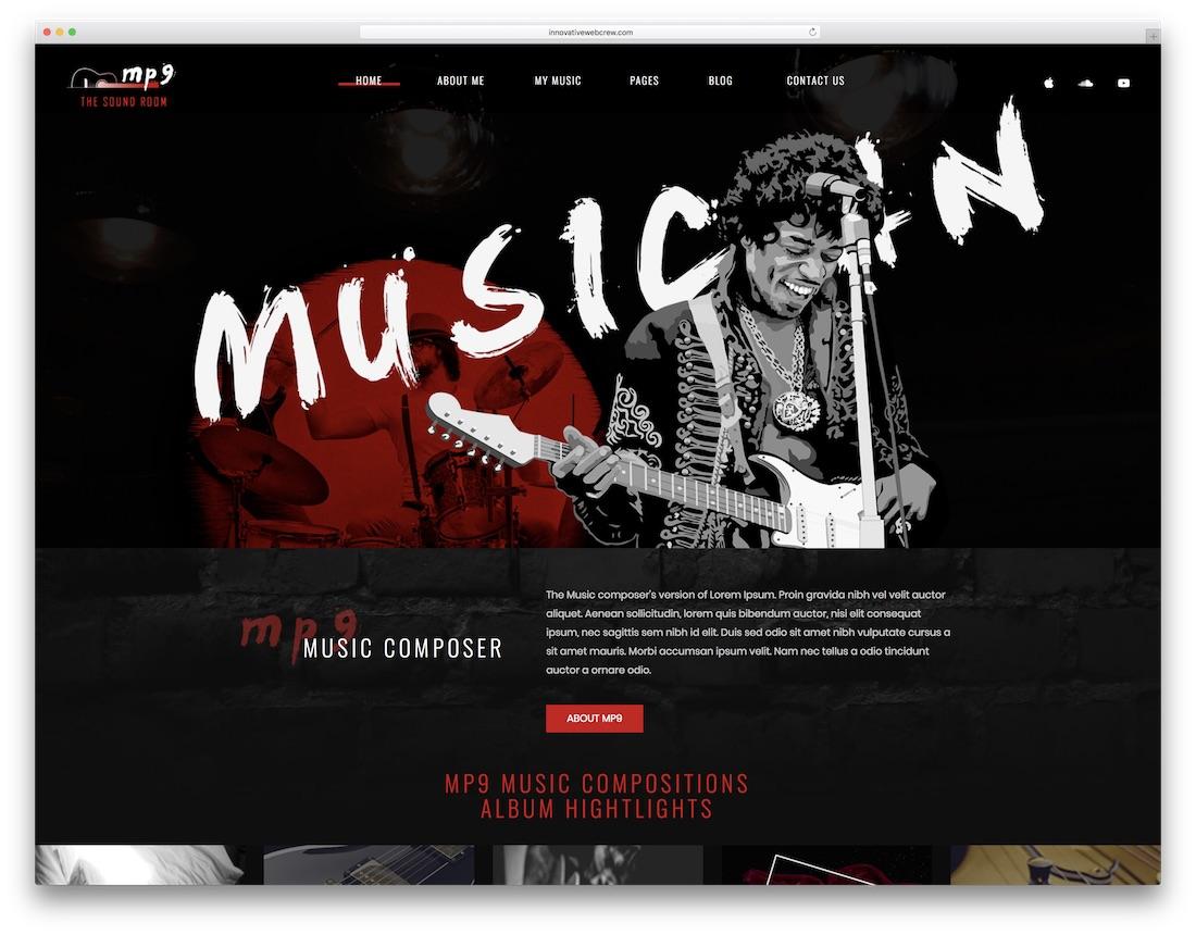 mp9 musician website template