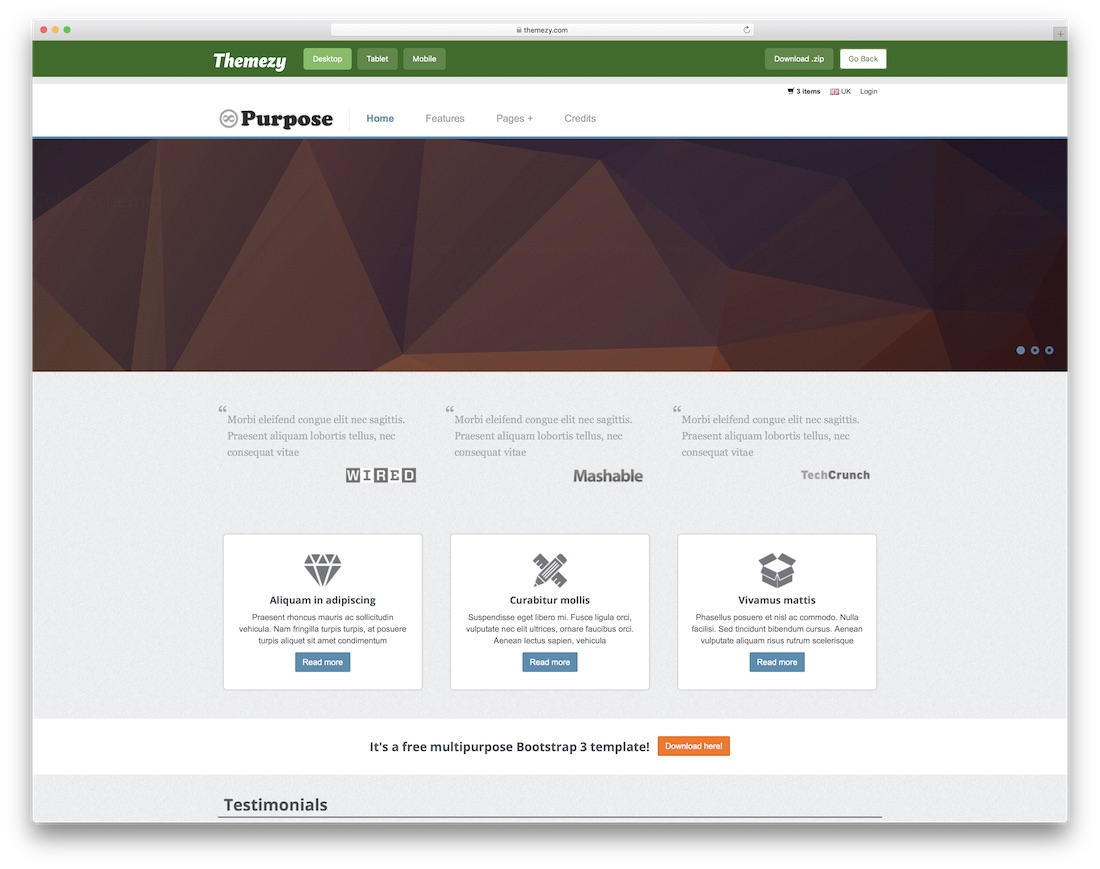 mpurpose free bootstrap ecommerce website template