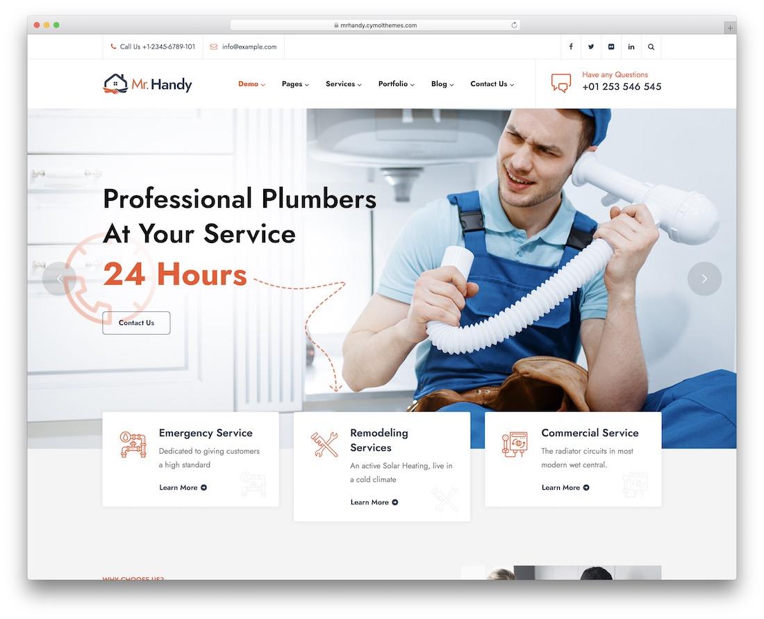 mrhandy plumber wordpress theme
