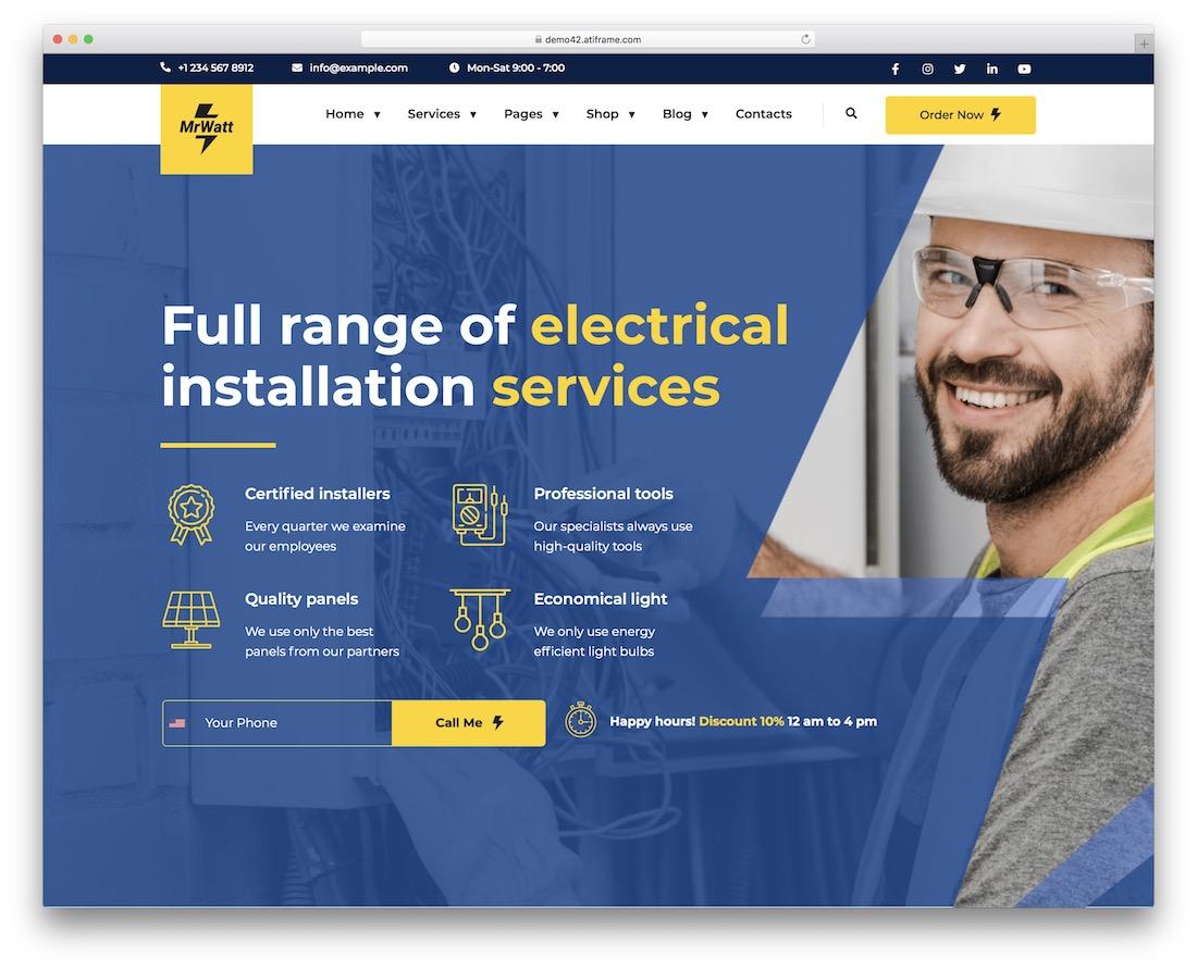 mrwatt electrician wordpress theme