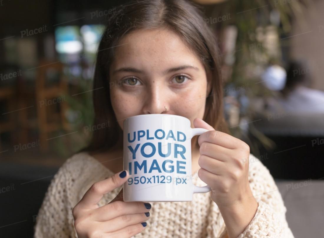 mug mockup of a girl drinking coffee