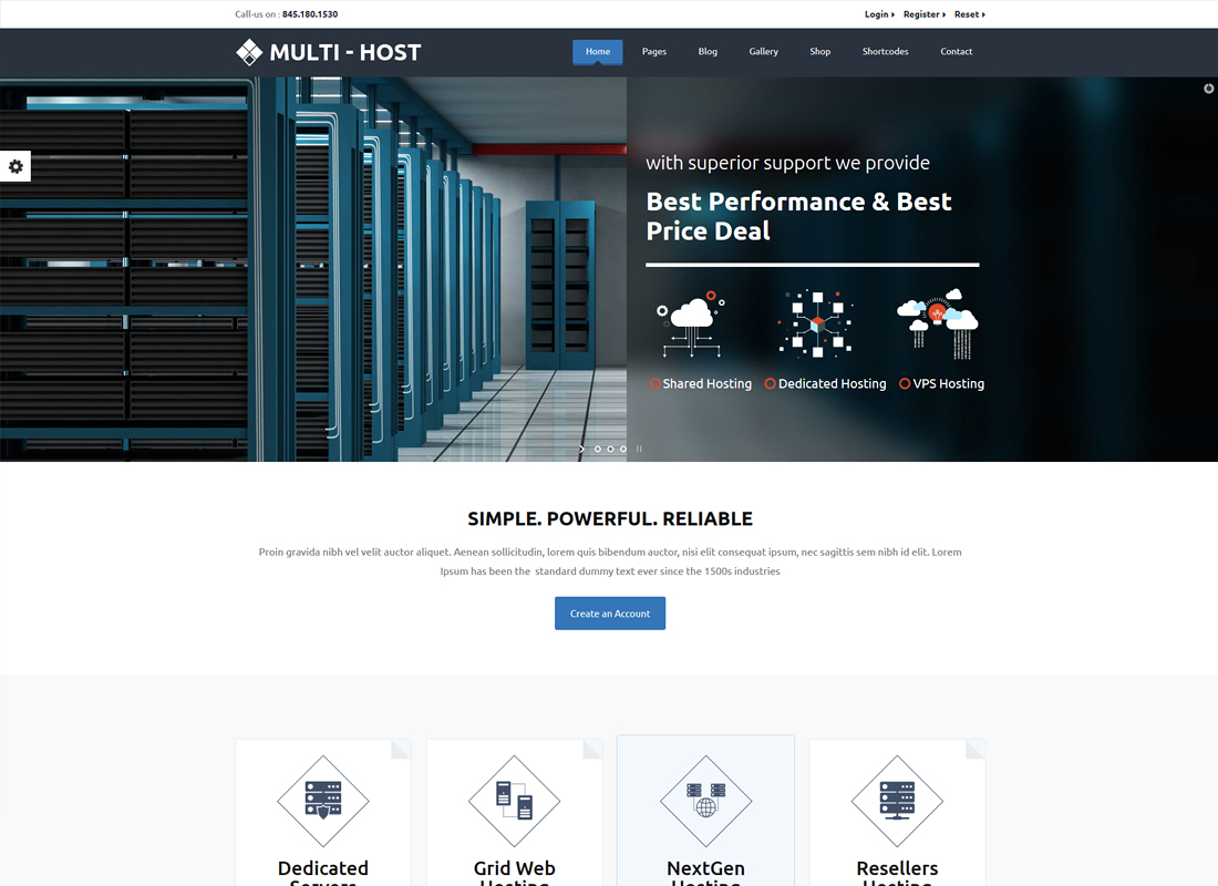 Multi Hosting | WHMCS Hosting WordPress Theme