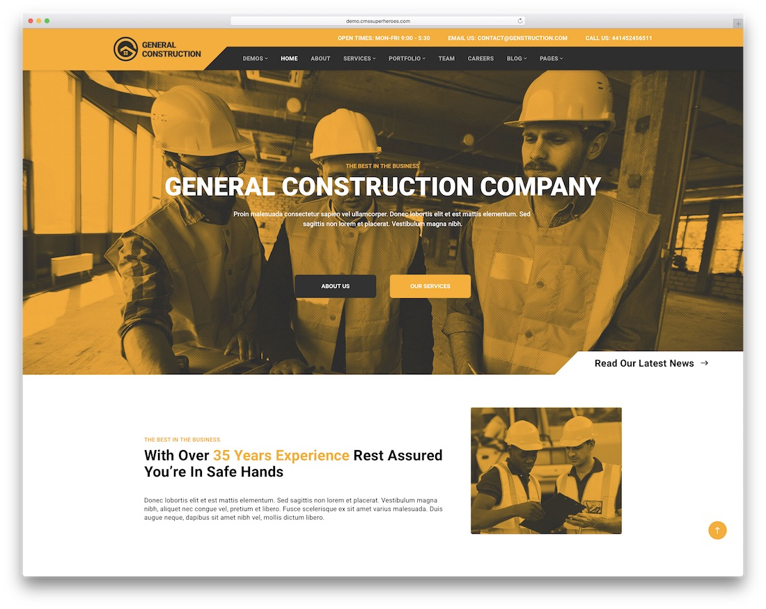 multicon construction company wordpress theme