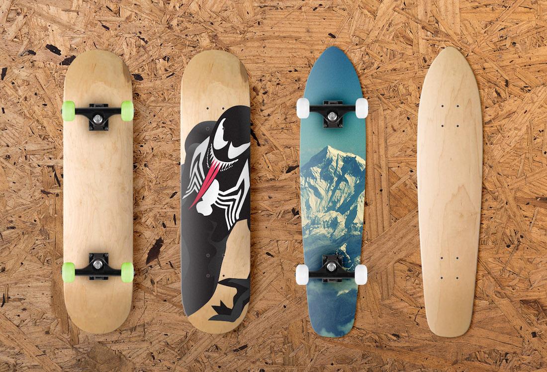 multiple-skateboard designs mockup