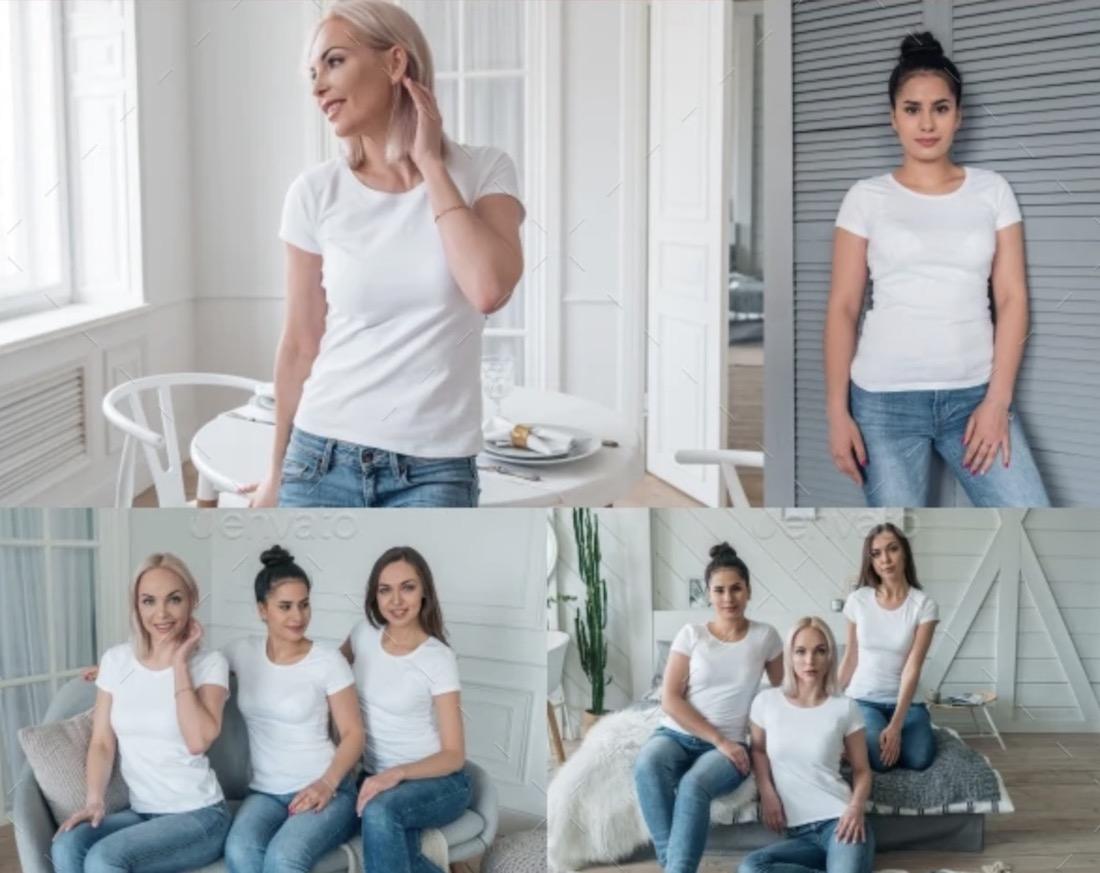multiple woman t-shirt mockups