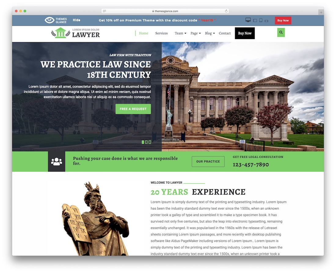 multipurpose lawyer free wordpress theme