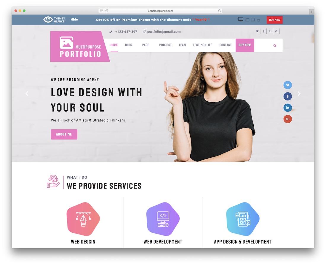 multipurpose portfolio free wordpress theme