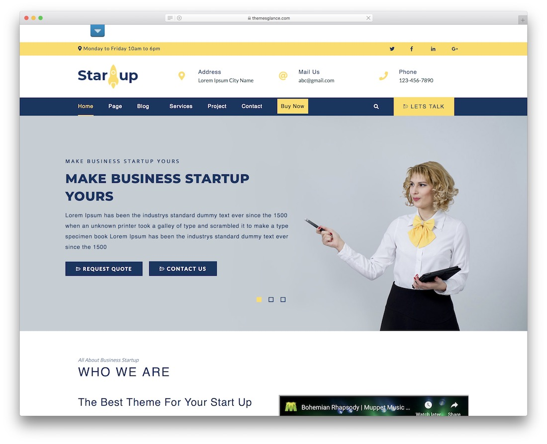 multipurpose startup free wordpress theme