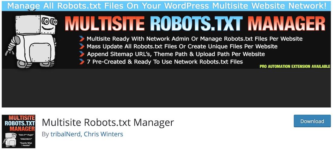 multisite robots txt manager free wordpress plugin