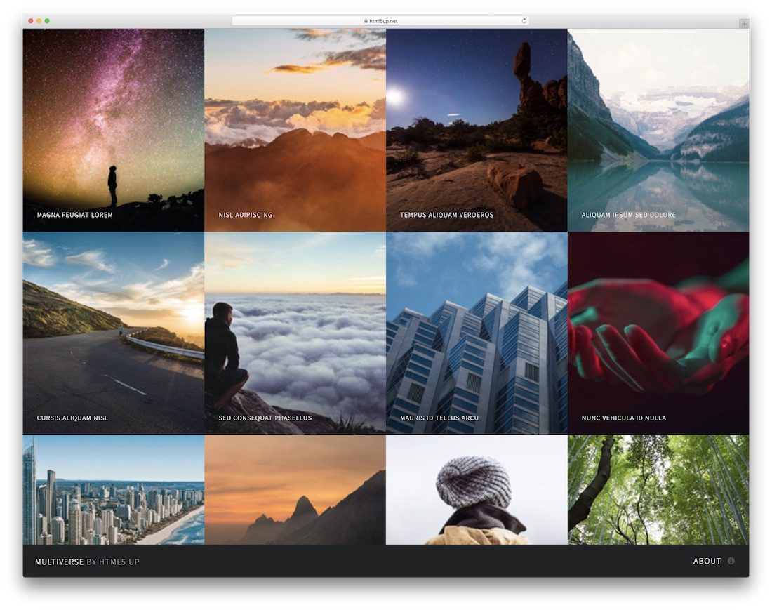 multiverse best free photography website template